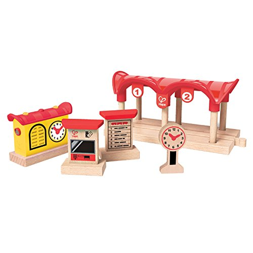 Train Set Station (Hape Wooden Railway Record, Listen, & Light Railway Station Kid's Train Set)