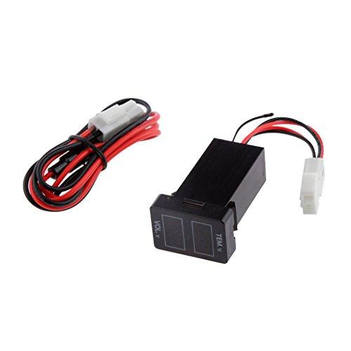 MagiDeal Dual LED Digital Battery Voltage Voltmeter Thermometer For Toyota Prado 150 Landcruiser 200 RAV4