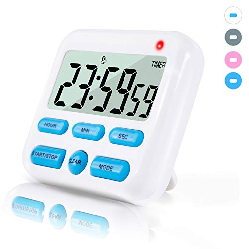 Digital Kitchen Timer with Upgrated 2 Timing Groups, Loud Alarm/Mute Flashing, Super Strong Magnetic Back, 12h Display Clock, On/Off Switch, 24h Count Up & Down for Cooking Sports Games Office.(White)
