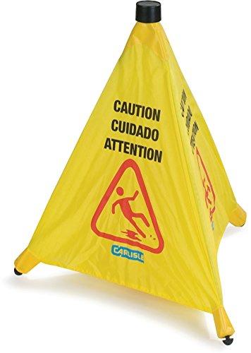 Carlisle 3694204 Pop-Up Caution Cone 20'' - Yellow (12 PER CASE) by Carlisle