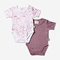 Babyushka Organic Short Sleeve AOP and Solid Onesie 2 Pack, Pink, 0, 2 Count