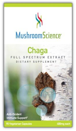 Chaga 400mg Organic Mushroom Extract Immune Health by Mushroom Science * NEW UPDATED Label*