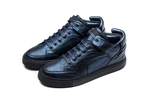 - OPP Men's Casual Shoes Genuine Leather High-Top 10 Blue