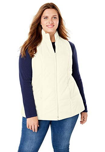 (Woman Within Women's Plus Size Quilted Vest - Ivory, 1X)