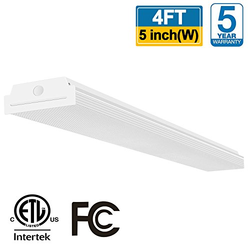 aparound 40W 4 Foot LED Shop Lights for Garage, 4400lm 4000K Neutral White, LED Wrap Light, 4' LED Light Fixtures Flush Mount Office Ceiling Lighting, Fluorescent Tube Replacement ()