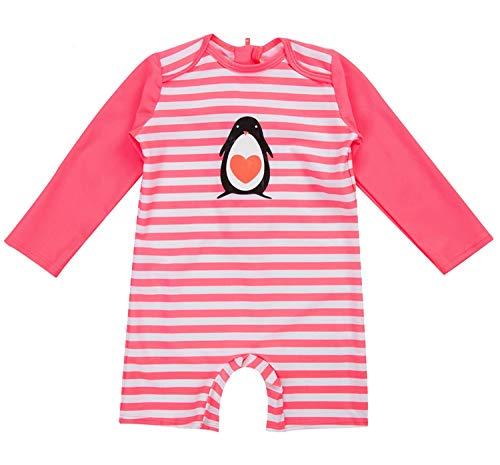 ATTRACO Baby Girls Long Sleeve Rash Guard Striped One Piece Swimwear 12 Months (Girls One Piece Baby)