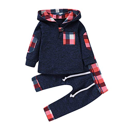 (Toddler Baby Girls Boys Plaid Hooded Fleece Sweatshirt with Pocket Pullover Tops + Long Pants Winter Warm Clothes Set (Royal Blue, 2-3 T))