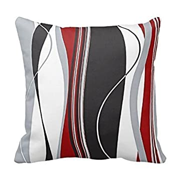 Wavy Vertical Stripes Red Black White And Grey Pillow Cover For Living Room Sofa