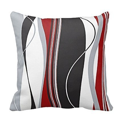 Wavy Vertical Stripes Red Black White and Grey Pillow Cover For Living Room, Sofa, Etc 18 x 18 Inches (Red Black And Grey Living Room)