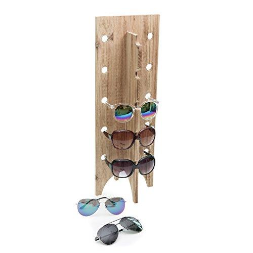Natural Blonde Wood Retail Sunglasses Display Stand, 5-Pair Eyewear Glasses - Shades Rack