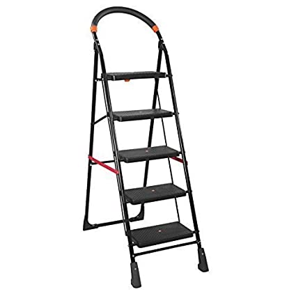 Parasnath Milano Iron 5-Steps Folding Ladder (Black)
