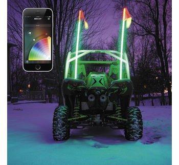 XKGLOW XK ADV App Control LED Light Kit (2X Whip XKchrome Advanced,for 4x4 Offroad UTV ATV Can-Am Polaris Razr Yamaha)