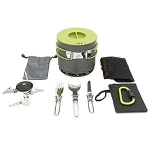 sycamorie Utensilios Cocina Camping Kit - Portátil Cocina Olla Estufa de Gas vajilla Conjunto de 6
