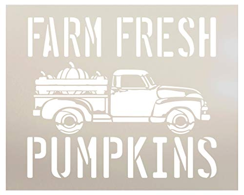 Farm Fresh Pumpkins Stencil by StudioR12 | Old Vintage Truck | Reusable Mylar Template | Paint Wood Sign | Craft Retro Fall Country Home Decor - Porch | Rustic DIY Seasonal Autumn Gift | SELECT SIZE
