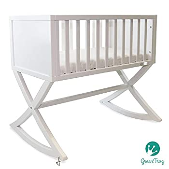 Image of Baby Green Frog, Allegro Cradle | Handcrafted Contemporary Wood Baby Cradle | Premium Pine Construction | Rocking and Stationary | Stark White Color