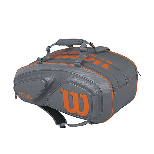 (Wilson Tour V 15 Pack Tennis Bag, Grey/Orange)