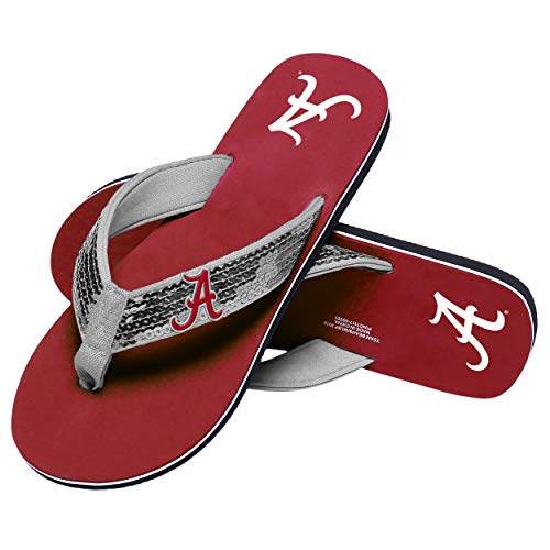 Alabama Crimson Tide NCAA Womens Sequin Flip Flops - L