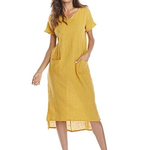 La mujer vestido,Sonnena ❤️ ❤️ ❤️ Bohemian blanco impresión hueca de encaje vestido Suelto suave vestido de manga corta para sexy mujer casual ropa al aire libre de Verano Amarillo