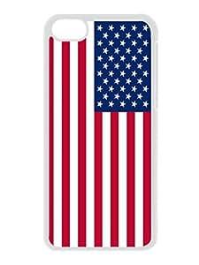 USA Flag Designs Silicone Iphone 5c Soft White Case Custom TPU Phone Cover