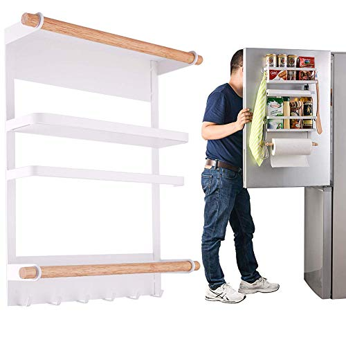 Magnetic Fridge Organizer Refrigerator Side Shelf Kitchen Rack Paper Towel Holder Spice Jars Rack Heavy-Duty Refrigerator Shelf Storage Including 6 Removable Hooks (White) ()