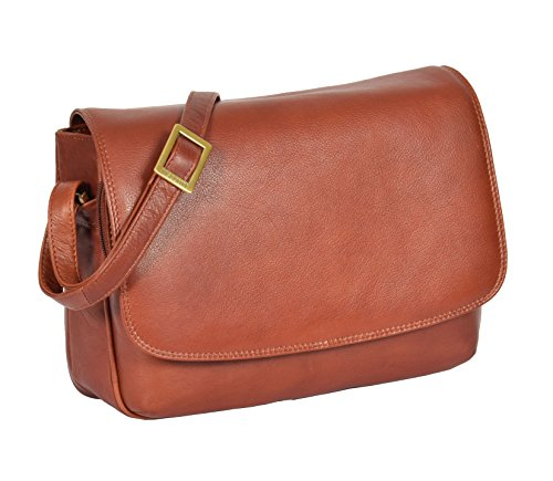 Womens Brown Shoulder Leather Organiser Cross Body Work Messenger Bag A190 by A1 FASHION GOODS (Image #6)