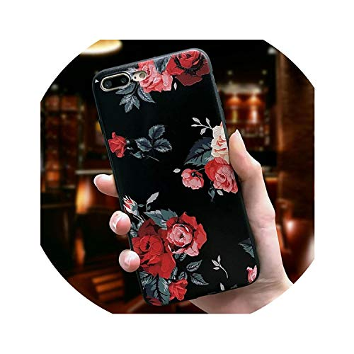 Retro Flower Phone Case for iPhone 6 6s 7 Plus 8 Plus X Case Silicone Fashion Women Soft Protection Cover for iPhone 8 7 Case,Style 7,for iPhone 7