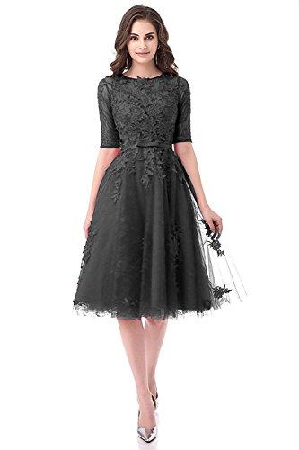 Burgund Applikation Black Ballkleid 36 Spitzen Cocktailkleid Abendklied Aiyana Brautjungfernkleid Tüll Elegant Damen Lang qnTFxwHva