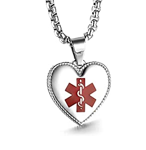 JF.JEWELRY Stainless Steel Heart-Shaped Medical Alert ID Necklace for Women Custom Engraving, 20-24 inches-Silver