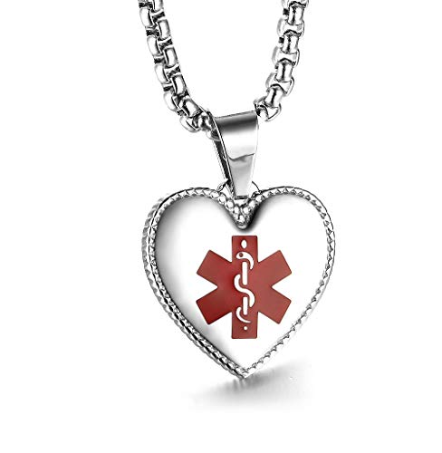 (JF.JEWELRY Stainless Steel Heart-Shaped Medical Alert ID Necklace for Women Custom Engraving, 24 inches-Silver)