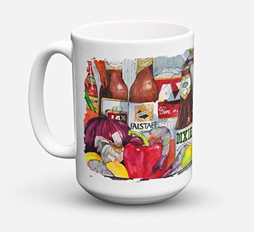 - Caroline's Treasures 1017CM15 New Orleans Beers And Spices Microwavable Ceramic Coffee Mug, 15 oz, Multicolor