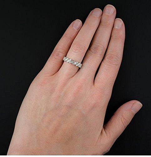 Gowe Round 2nd Outlet moissanites Lab Cultivées Diamant 14K Or blanc antique Pave éternité Bague de mariage