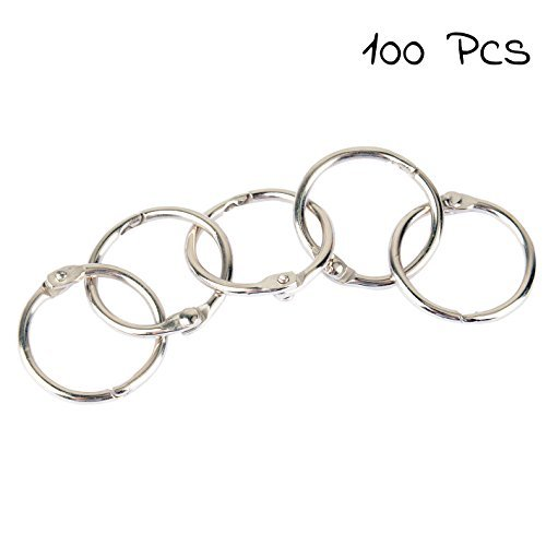 Pawfly 3/4 inch Small Loose Leaf Binder Rings Book Ring, 100 Pieces
