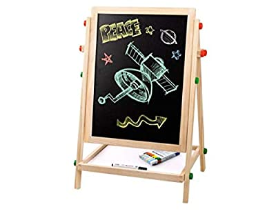 H.ZHOU Easel Small Blackboard Children's Drawing Board Double-Sided Bracket Adjustable Baby Painting Magnetic Versatile Use
