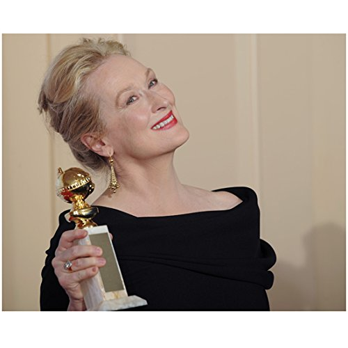 Meryl Streep 8 Inch x 10 Inch Photo in Black Dress Holding Her Golden Globe Award Pose 1 kn
