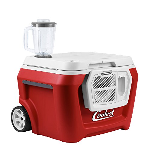 COOLEST COOLER Premium Outdoor Ice Chest Cooler With Wheels, Handle, Bluetooth Speaker & Blender (55 Qt, Red) Insulated, USB, LED Lid Light & Bottle Opener - Perfect For The Beach, Camping & Parties