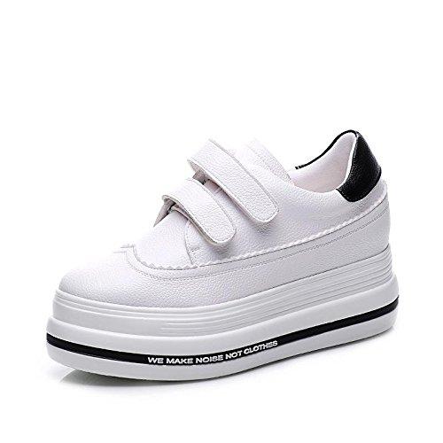 Comodidad Blancos Plano Oficina Deporte Caminan Ocasional Mujeres Las Carrera Aire 2 De Y Cuero Lvyuan Flatform La Libre Zapatos Que Talón Al Manera Patente Zapatillas Uq5gP