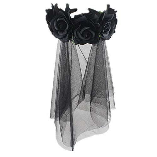 Halloween Dead Bride Hair (PURFUN Halloween Gothic Flower Garland Cosplay Day of The Dead Headpiece Hair Wreath with Short Black Veil Costume Accessory for Women)