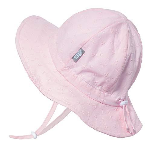 Toddler Girls Cotton Sun Hats 50 UPF, Drawstring Adjustable, Stay-on Tie (M: 6-24m, Pink Eyelet)