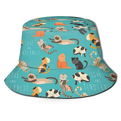Family Of Cats Unisex Funny Bucket Hat Fisherman Cap Sun Hat