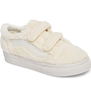 621b239800a Vans Old Skool V Toddlers Sherpa Turtledove True White Faux Fur Shoes (8.5  Toddler)