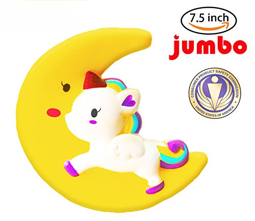 Dialeesi Squishies Slow Rising Cute Unicorn Horse Riding Moon- Kawaii Squeeze Toy Pack 7.5 inch | Soft and Cream Scented Stress Reliever for Kids