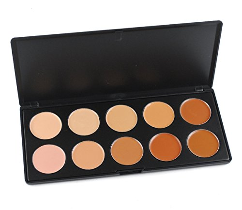 FantasyDay Pro 10 Colors Cream Concealer Camouflage Makeup Palette Contouring Kit - Ideal for Professional and Daily -