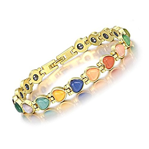 Circle Link Magnetic Clasp Bracelet - Antiquity Sian Art Women Magnetic Therapy Heart Cat's Eye 18K Gold Plated Copper Bracelet