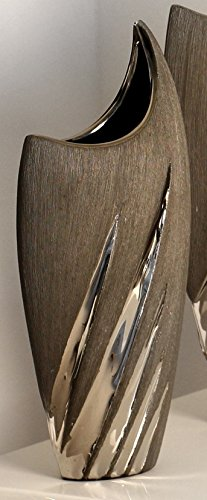 GILDE moderne Vase Keramikvase Dekovase Blumenvase in matt grau silber aus Keramik 29x13x6 cm