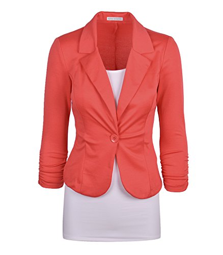 Auliné Collection Women's Casual Work Solid Color Knit Blazer Coral Medium (Coral Collection)