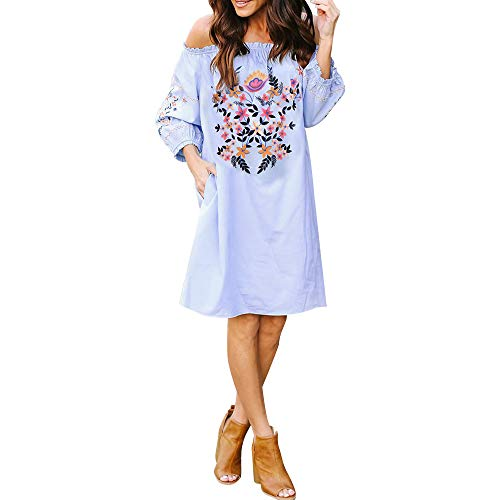 ANJUNIE Loose Mini Dress, Women Sexy Off-Shoulder Long Sleeve Casual Dress with Pocket(Blue,S) -