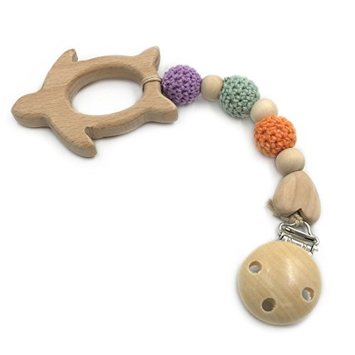 Amyster Baby Wood Pacifier Clip Pendant Nature Wooden Sea Turtle Teething Chewable Safe Holder Infant Gift Unisex Teething Clip Toys (Sea (Infant Turtle Teether)