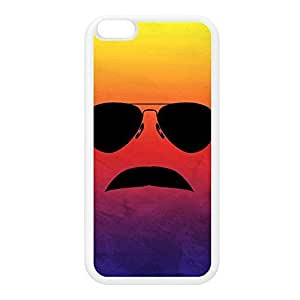 80s Moustache White Silicon Rubber Case for iPhone 6 Plus by DevilleArt + FREE Crystal Clear Screen Protector