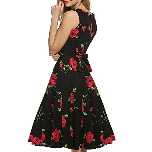 MAX MALL Damen 1950er Audrey Hepburn Vintage Rockabilly Kleid Swing ...