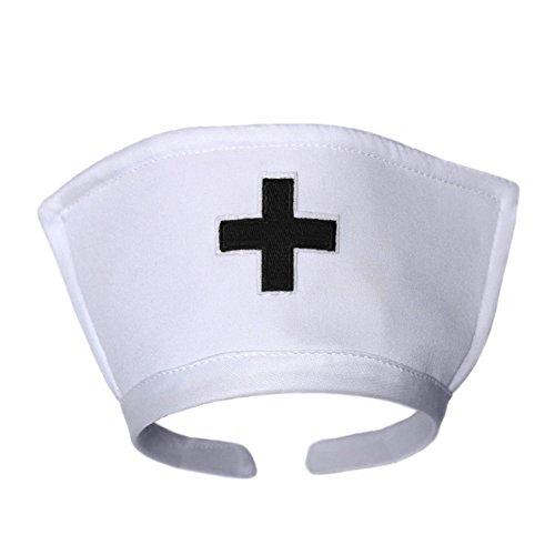 White Nurse Hat Headband with Black Cross ~ Halloween Costume -